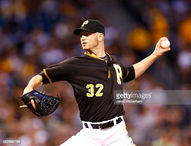 A Happ of the Pittsburgh Pirates pitches in the fourth inning against the Chicago Cubs during the game at PNC Park on August 4 2015 in Pittsburgh...