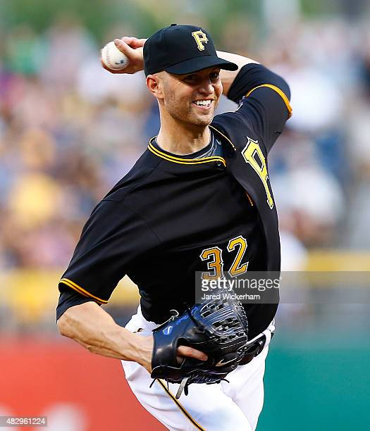 A Happ of the Pittsburgh Pirates pitches in the third inning against the Chicago Cubs during the game at PNC Park on August 4 2015 in Pittsburgh...