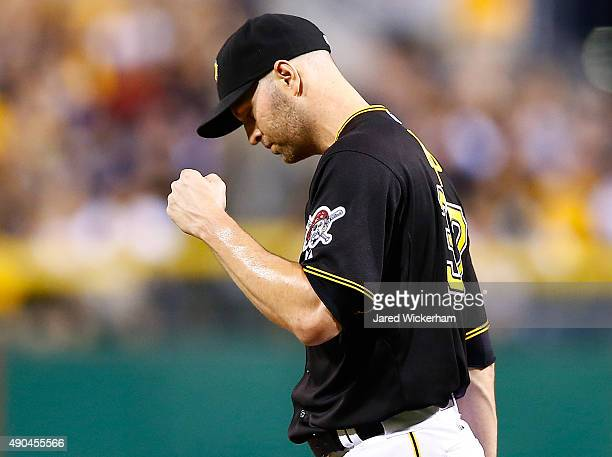 A Happ of the Pittsburgh Pirates reacts following a double play against the St Louis Cardinals during the game at PNC Park on September 28 2015 in...