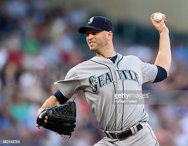 A Happ of the Seattle Mariners delivers a pitch against the Minnesota Twins during the first inning of the game on July 30 2015 at Target Field in...