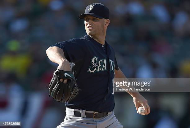 A Happ of the Seattle Mariners pitches against the Oakland Athletics in the bottom of the first inning at Oco Coliseum on July 3 2015 in Oakland...