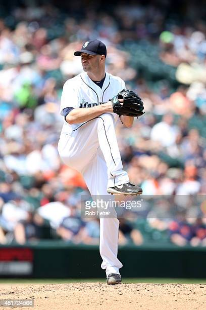 A Happ of the Seattle Mariners pitches during the game against the Detroit Tigers at Safeco Field on July 8 2015 in Seattle Washington The Tigers...