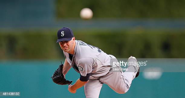 A Happ of the Seattle Mariners warms up prior to the start of the game against the Detroit Tigers on July 20 2015 at Comerica Park in Detroit Michigan