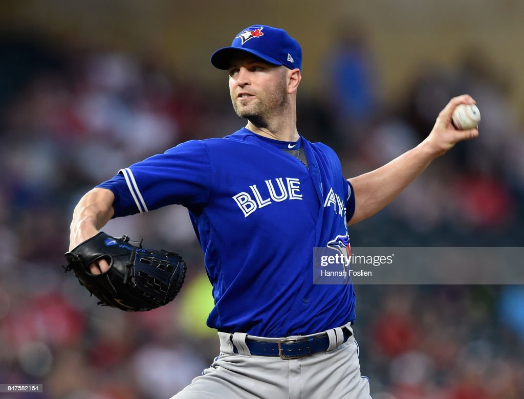 J.A. Happ #33 of the Toronto Blue Jays delivers a pitch against the Minnesota Twins during the first inning of the game on September 15, 2017 at Target Field in Minneapolis, Minnesota.