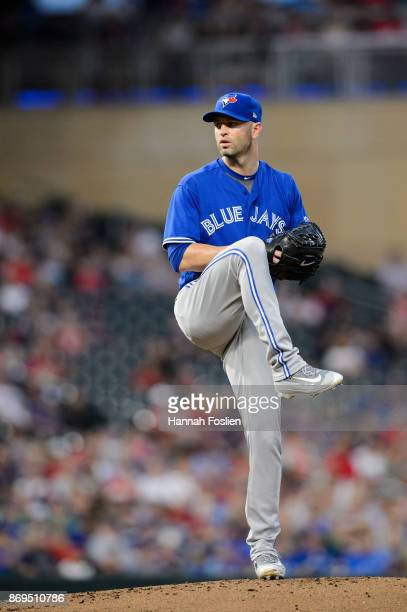 A Happ of the Toronto Blue Jays delivers a pitch against the Minnesota Twins during the game on September 15 2017 at Target Field in Minneapolis...