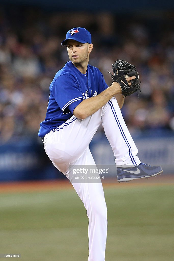 J.A. Happ #48 of the Toronto Blue Jays delivers a pitch during MLB game action against the Boston Red Sox on April 6, 2013 at Rogers Centre in Toronto, Ontario, Canada.