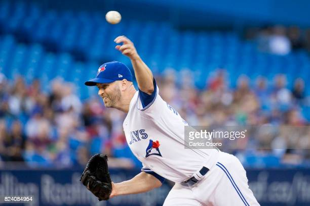 A Happ of the Toronto Blue Jays delivers a pitch during the 1st inning of MLB action as the Toronto Blue Jays host the Los Angeles Angels at the...