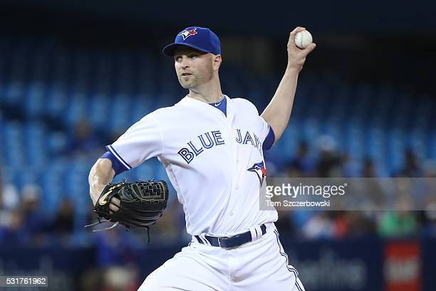 A Happ of the Toronto Blue Jays delivers a pitch in the first inning during MLB game action against the Tampa Bay Rays on May 16 2016 at Rogers...