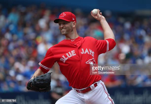 A Happ of the Toronto Blue Jays delivers a pitch in the first inning during MLB game action against the Houston Astros at Rogers Centre on July 9...