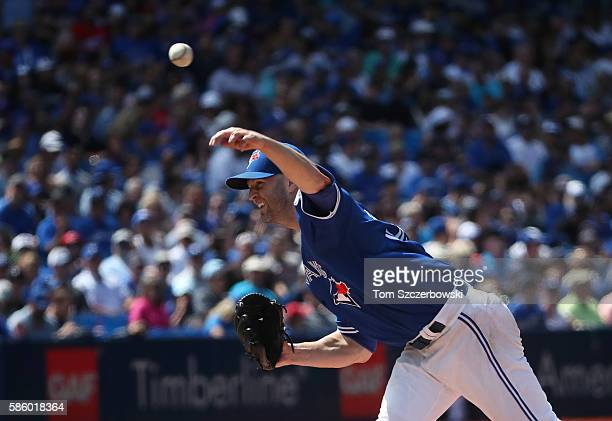 A Happ of the Toronto Blue Jays delivers a pitch in the seventh inning during MLB game action against the Baltimore Orioles on July 30 2016 at Rogers...
