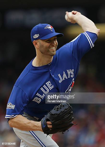 A Happ of the Toronto Blue Jays delivers a pitch in the sixth inning against the Texas Rangers in game two of the American League Divison Series at...