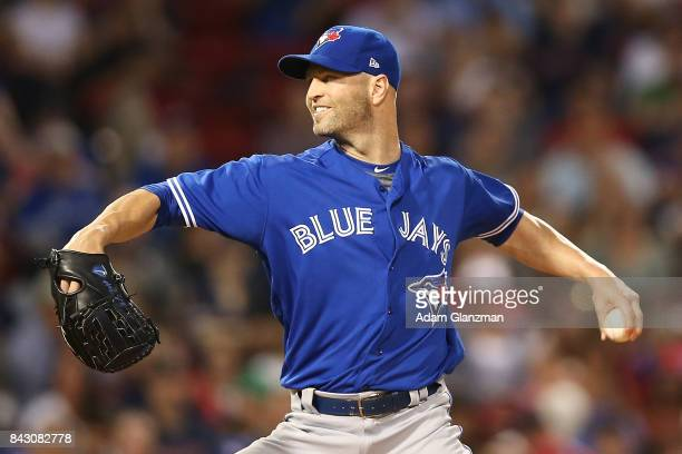 A Happ of the Toronto Blue Jays delivers in the first inning of a game against the Boston Red Sox at Fenway Park on September 4 2017 in Boston...