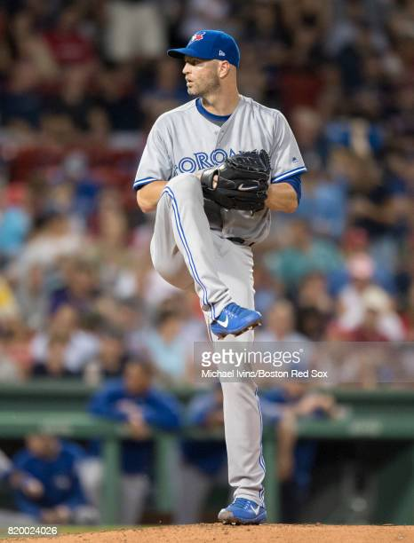 J A Happ of the Toronto Blue Jays pitches against the Boston Red Sox in the fourth inning at Fenway Park on July 18 2017 in Boston Massachusetts JA...