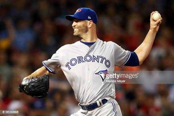 A Happ of the Toronto Blue Jays pitches against the Boston Red Sox during the first inning at Fenway Park on July 18 2017 in Boston Massachusetts