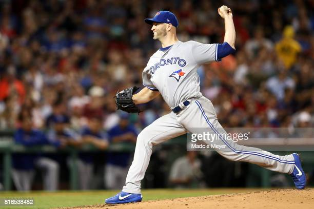 A Happ of the Toronto Blue Jays pitches against the Boston Red Sox during the second inning at Fenway Park on July 18 2017 in Boston Massachusetts