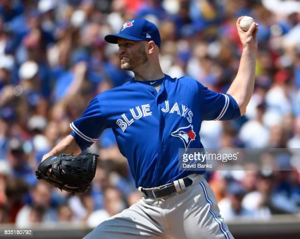 A Happ of the Toronto Blue Jays pitches against the Chicago Cubs during the first inning n August 18 2017 at Wrigley Field in Chicago Illinois