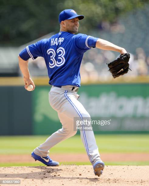 J Happ of the Toronto Blue Jays pitches against the Chicago White Sox on August 2 2017 at Guaranteed Rate Field in Chicago Illinois