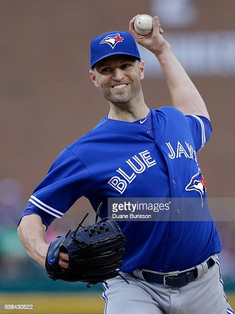 A Happ of the Toronto Blue Jays pitches against the Detroit Tigers during the second inning at Comerica Park on June 6 2016 in Detroit Michigan