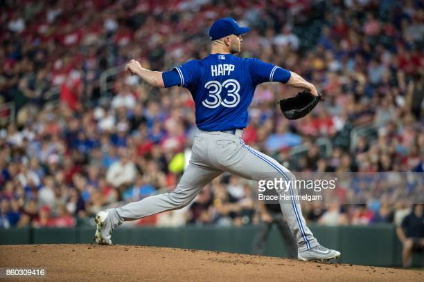 A Happ of the Toronto Blue Jays pitches against the Minnesota Twins on September 15 2017 at Target Field in Minneapolis Minnesota The Blue Jays...