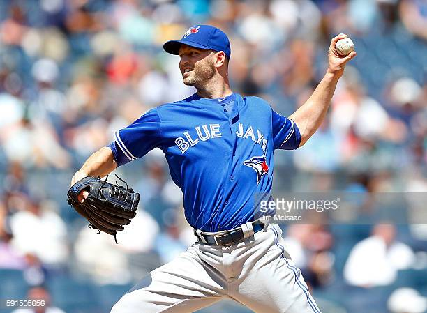 A Happ of the Toronto Blue Jays pitches in the first inning against the New York Yankees at Yankee Stadium on August 17 2016 in the Bronx borough of...