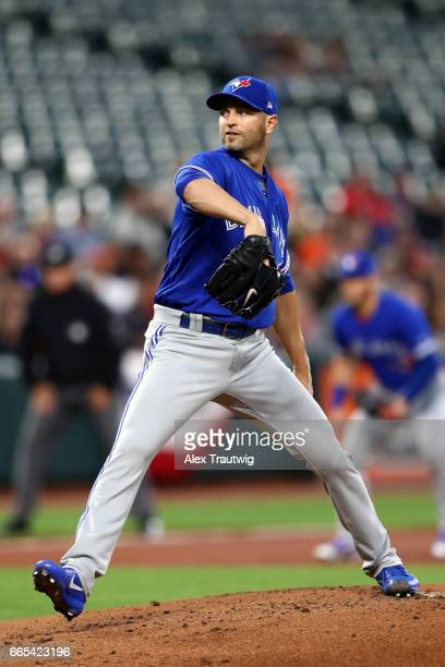 A Happ of the Toronto Blue Jays pitches in the first inning during the game against the Baltimore Orioles at Oriole Park at Camden Yards on Wednesday...