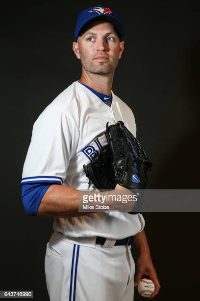 A Happ of the Toronto Blue Jays poses for a portait during a MLB photo day at Florida Auto Exchange Stadium on February 21 2017 in Sarasota Florida