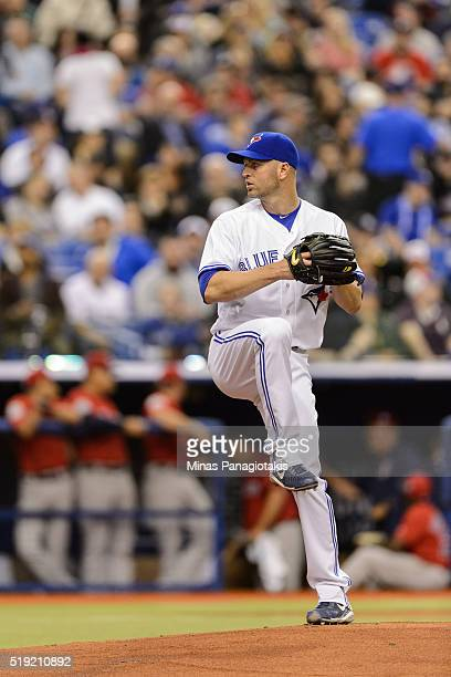 A Happ of the Toronto Blue Jays prepares to pitch the ball during the MLB spring training game against the Boston Red Sox at Olympic Stadium on April...