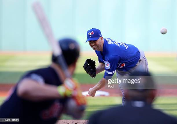 A Happ of the Toronto Blue Jays throws a pitch in the first inning against the Cleveland Indians during game two of the American League Championship...