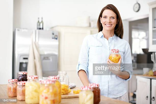 Happily working in the kitchen