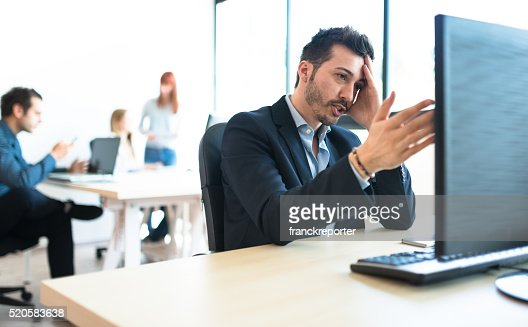 happiness businessman worried in the office