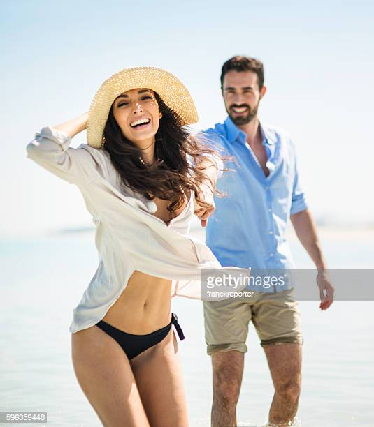 Happiness couple at the seaside