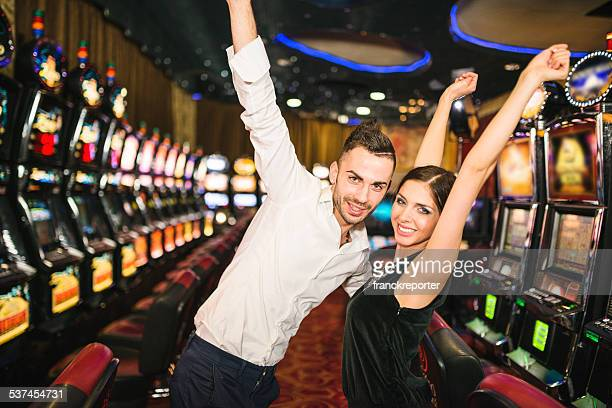 Happiness couple winning at Casino