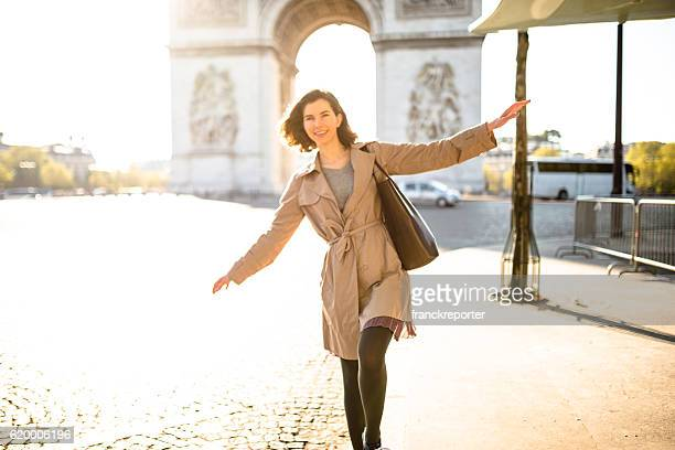 happiness french woman enjoying paris