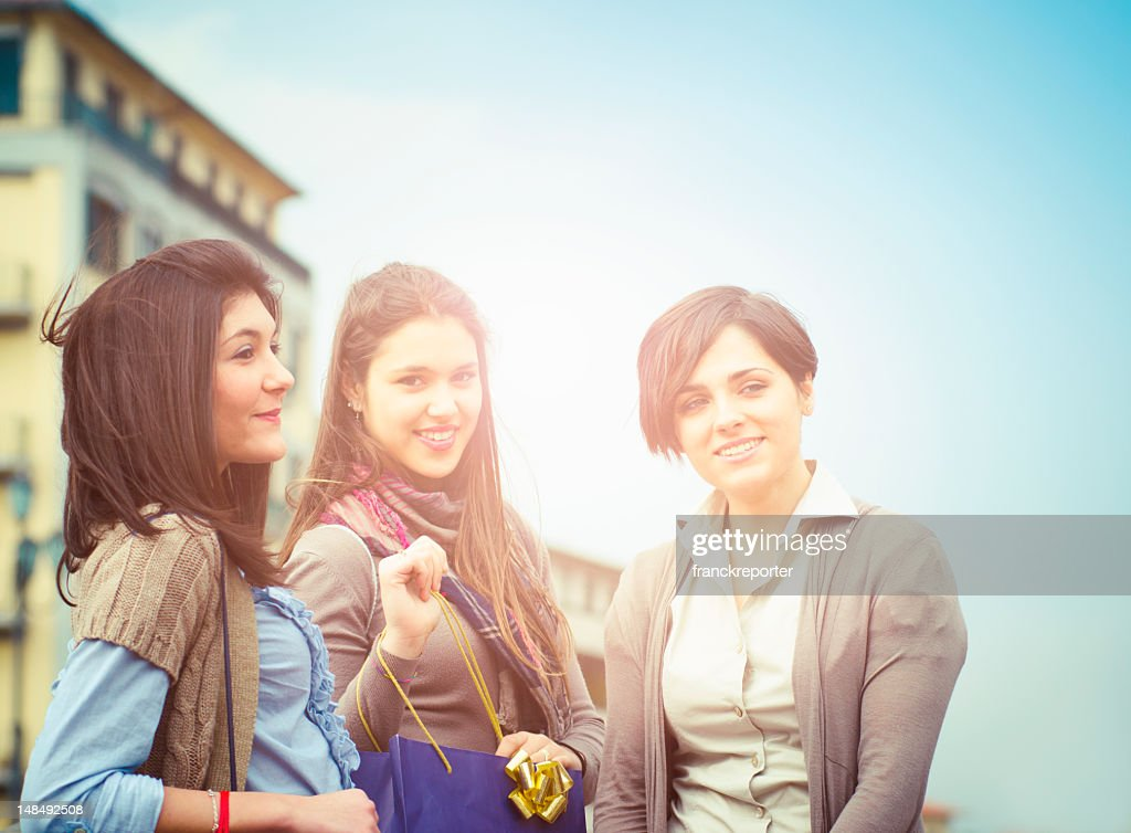 Happiness girl after shopping in the street : Stock Photo