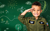 Happiness little boy with pilot dream job smiling
