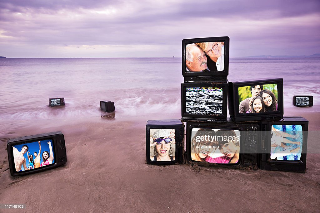 Happiness morning televisions : Stock Photo