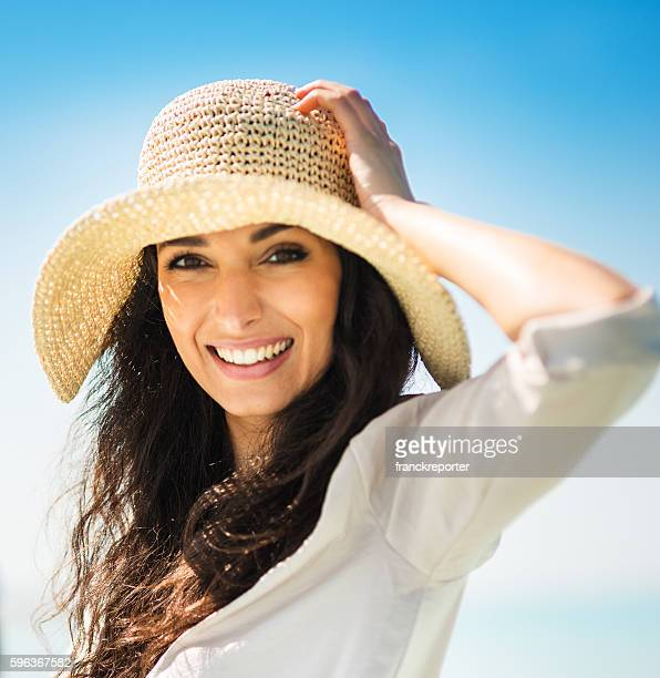 Happiness woman on summer with panama hat