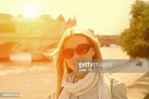 Happiness Woman on the street in Paris under sunlight : Stock Photo