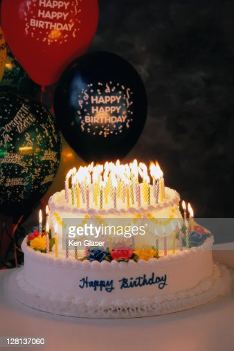 Holce026 Happy 100th Birthday Cake Stock Foto