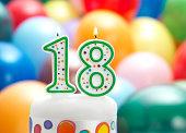 eighteen candle on cake