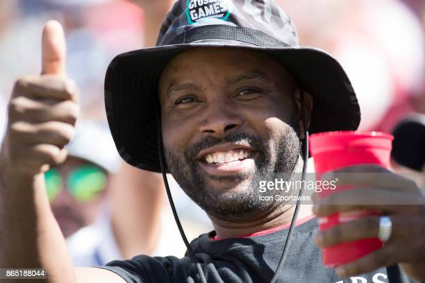 Happy 49er fan before the regular season game between the Dallas Cowboys and the San Francisco 49ers on October 22 2017 at Levi's Stadium in Santa...