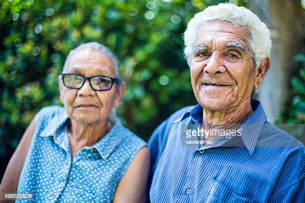 Happy aboriginal senior couple portrait