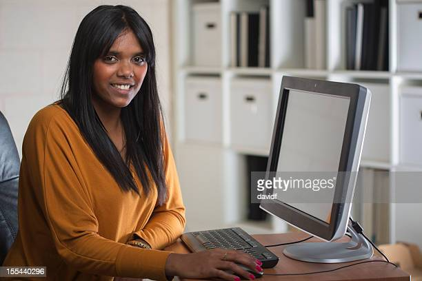 Happy Aboriginal Woman at Work
