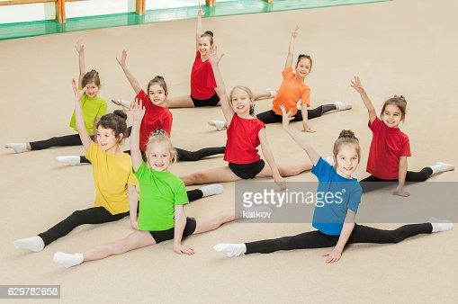 Happy active children in gym : Stock Photo