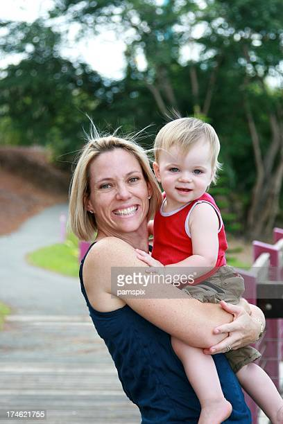 Happy active Mother & Son outdoors
