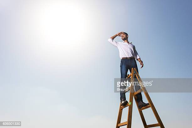 Happy African American businessman on the ladders against the sky.