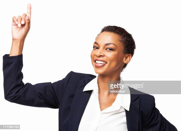 Happy African American Businesswoman Pointing Upward - Isolated