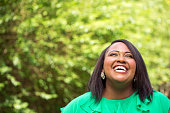 Happy plus size model laughing