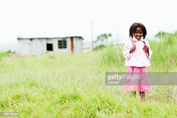 Happy African little girl smiling