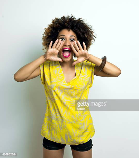Happy Afro Woman Shouting